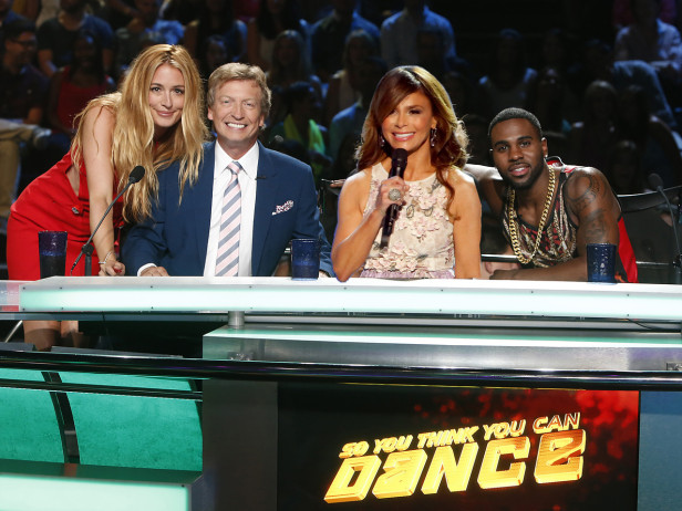 SO YOU THINK YOU CAN DANCE: L-R: Host Cat Deeley, resident judges Nigel Lythgoe, Mary Murphy and guest judge Jason Derulo on SO YOU THINK YOU CAN DANCE airing Wednesday, July 2 (8:00-10:00 PM ET/PT) on FOX. ©2014 FOX Broadcasting Co. Cr: Adam Rose