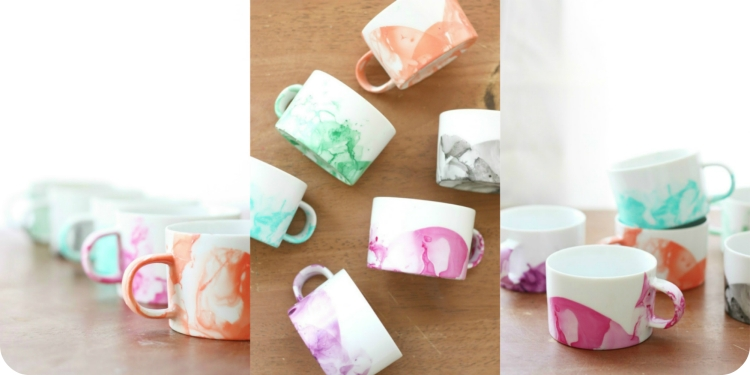 DIY Marbled Mugs 6